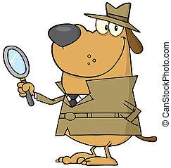 detective, perro, feliz