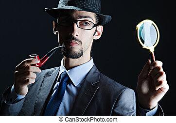 detective, tubo, lupa