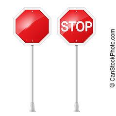 Detengan la señal de carretera con apoyo