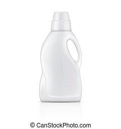 detergent., blanco, lavadero, botella, líquido