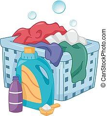 detergente, burbujas, cesto de ropa sucia
