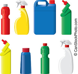 detergente, conjunto, botellas, plástico