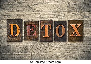 Detox, concepto de cartón de madera