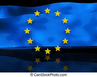 Detrás de la bandera europea