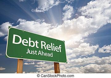 deuda, verde, alivio, muestra del camino