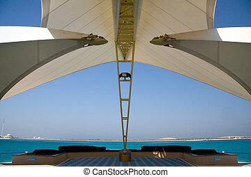dhabi, isla, moderno, abu, mar, estructura, encuadrado