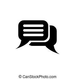 diálogo, diseño, tela, diálogo, símbolo, fondo., vector, plano, vivo, señal, discussion., burbujas, discurso, element., charla, icono, plantilla, negro, ui, illustration., blanco, móvil, simple