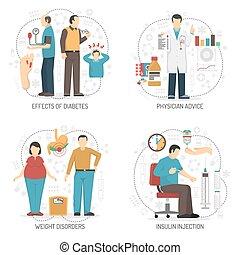 Diabetes 2x2 concepto de diseño