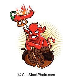 Diablo con chile picante animado