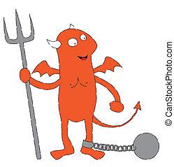 Diablo rojo encadenado