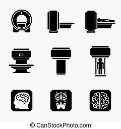 Diagnóstico del escáner médico. Íconos Vector