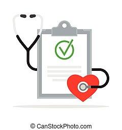 Diagnóstico. Informe médico con estetoscopio