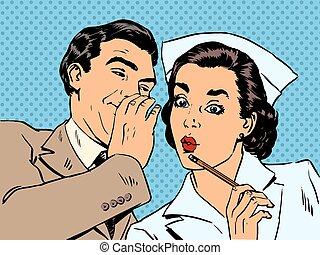 Diagnóstico paciente enfermera y chismes masculinos conversación sorpresa St