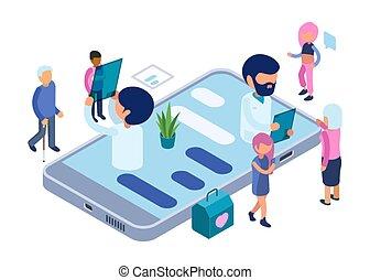 diagnosis., atención sanitaria, médico, concept., vector, app, en línea, diagnóstico, isométrico, ilustración, doctors, patients.