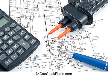 diagrama, calculadora, eléctrico, pluma, examinador de voltaje