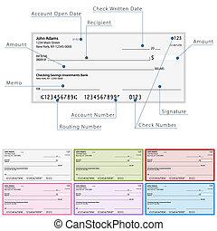 diagrama, cheque, blanco