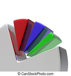Diagrama circular 3D en blanco