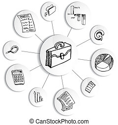 diagrama, contabilidad, financiero, rueda, empresa / negocio