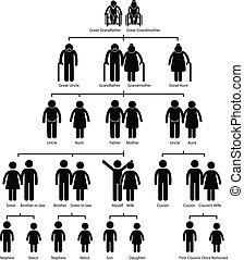 Diagrama genealógico de árbol genealógico