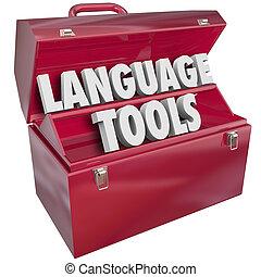 dialecto, escuela, aprendizaje, idioma, extranjero, palabras, caja de herramientas, herramientas