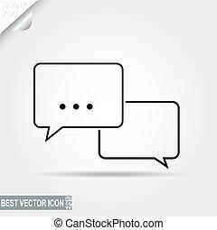 Dialogo, mensaje, pictografía de discusión, icono de chat - vector enfermo