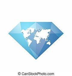 Diamante aislado con un mapa mundial