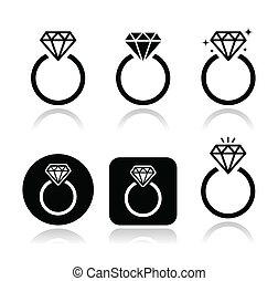 Diamante anillo de compromiso icono vector