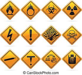 diamante, brillante, peligro, señales