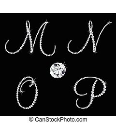 diamante, conjunto, letters., vector, 4, alfabético, elegante