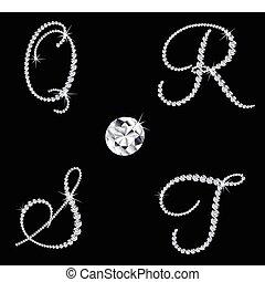diamante, conjunto, letters., vector, 5, alfabético, elegante
