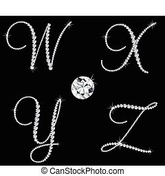 diamante, conjunto, letters., vector, 7, alfabético, elegante
