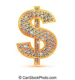 diamante, dólar, icono