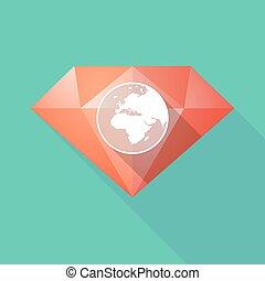 Diamante de larga sombra con un Asia, África y Europa regiones del mundo