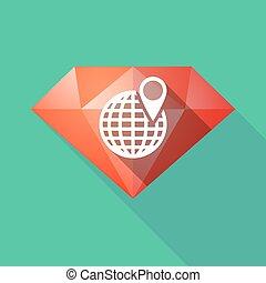Diamante de larga sombra con un globo