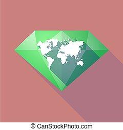 Diamante de larga sombra con un mapa mundial