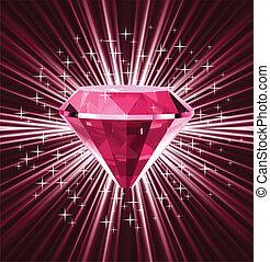 Diamante rojo sobre fondo brillante. Vector