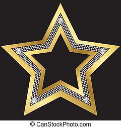 diamantes, dorado, vector, estrella