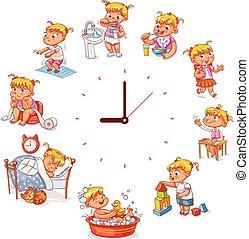 diario, simple, rutina, relojes