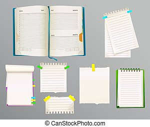 Diario y notas de mensaje ilustración vectorial