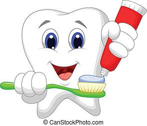 Diarios de dientes con pasta de dientes