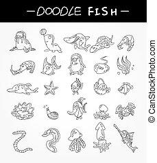 Dibuja a mano iconos de peces de acuario