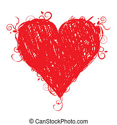 Dibuja el corazón rojo para tu diseño