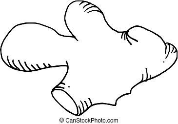 dibujado, jengibre, (vector), mano