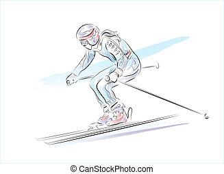 dibujado, mano, bosquejo, esquiador