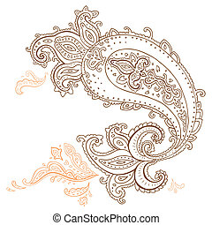 dibujado, mano, cachemira, ornament.