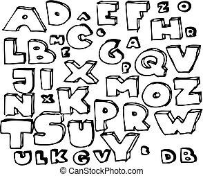 dibujado, mano, garabato, alfabeto