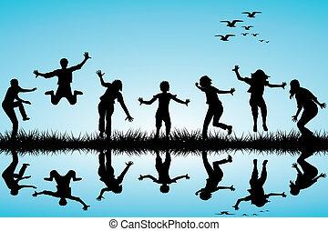 dibujado, mano, juego, niños, naturaleza