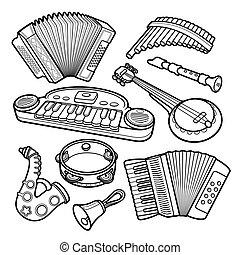 dibujado, musical, niños, objetos, conjunto de mano, caricatura, juguetes
