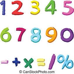 dibujado, números, colorido, mano