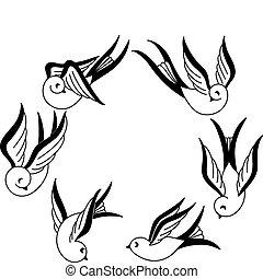 dibujado, pájaros cantor, mano